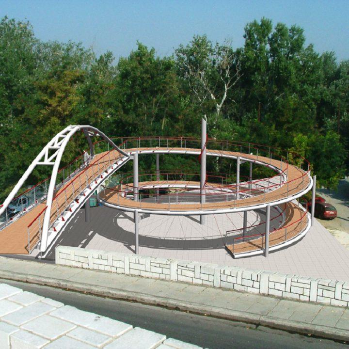 Ποδηλατοπεζογέφυρα γεφύρωσης συνοικίας Αμπελοκήπων με πόλη & ποτάμι