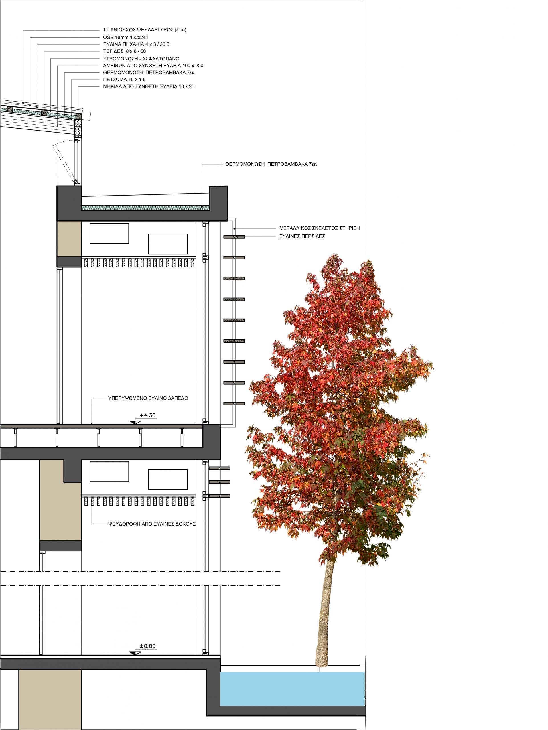 Κατασκευαστική λεπτομέρεια εσωτερικής όψης του κτιρίου
